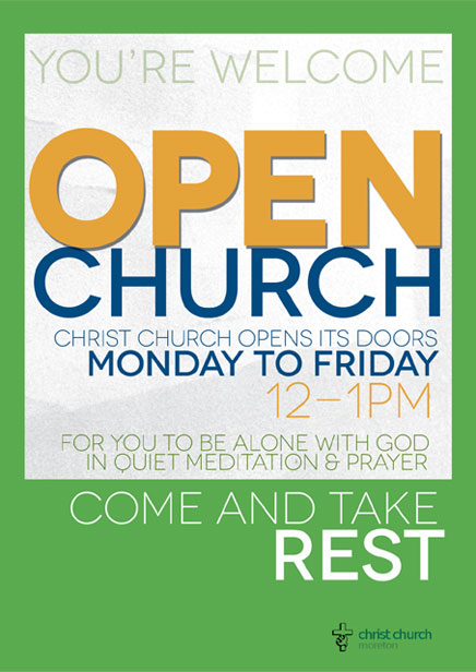 Christ Church is open between 12.00 and 1.00 pm each day for private prayer. There is a brief service of prayer each day at 12.55 pm.